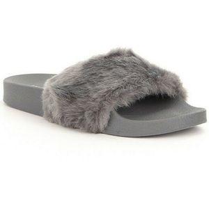 Grey Steve Madden Slides